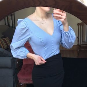 Urban Outfitters Blue Bell Sleeve Blouse
